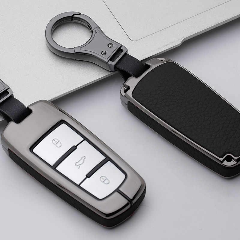 Galvanzed Alloy&Leather Car Key Case For Volkswagen VW Tiguan MK2 Skoda Superb A7 Magotan Passat B5 B6 B7 B8 3C CC R36 2017 2018