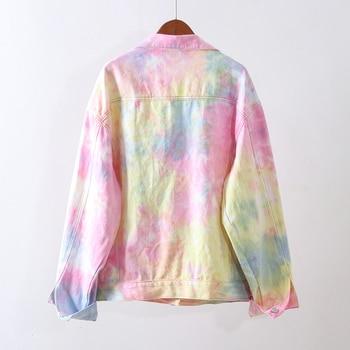 2020 Spring Autumn Women Fashion Vintage Gradient Denim Jacket Casual Loose Jean Coat Female Outerwear Korean Cowboy Tops Ladies 6