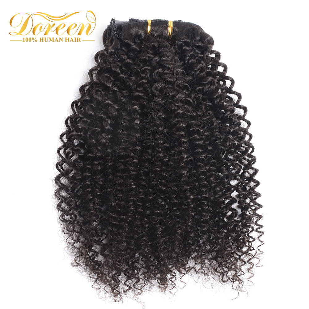Doreen Hair Mongolian Afro Kinky Curly Weave Remy Hair Clip In Human Hair Extensions Natural Color Full Head 7Pcs/Set 120G