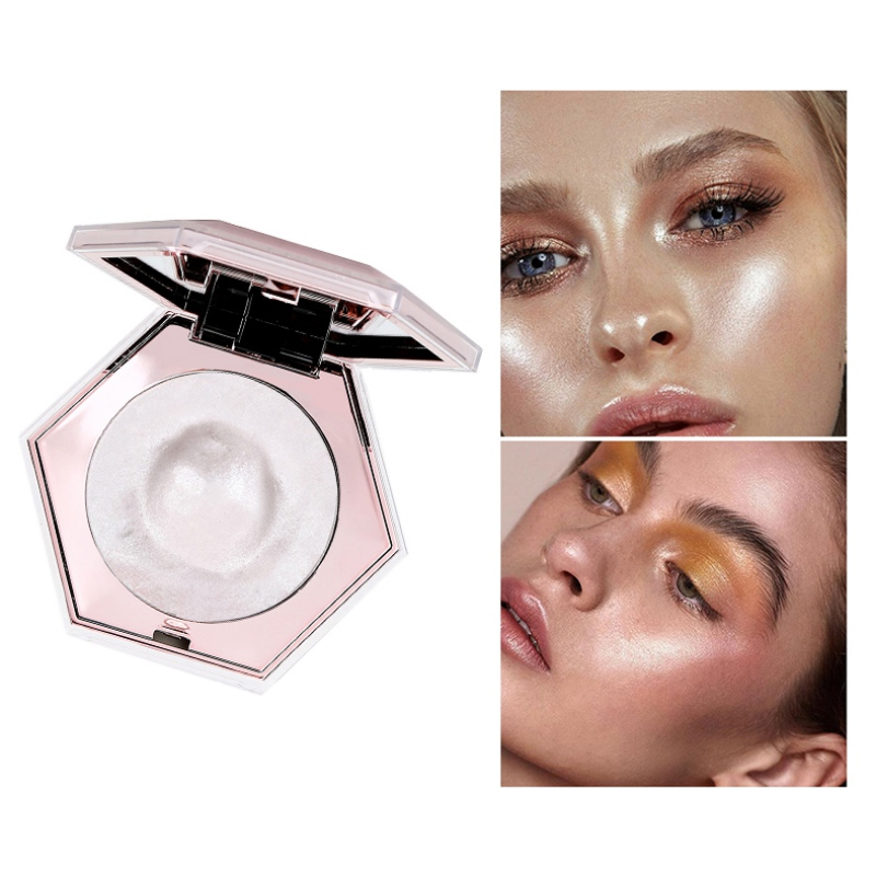 Highlighter Pressed Powder Diamond Shape Shiny Luminous PowderWaterproof Brighten Skin Color Long Lasting Makeup