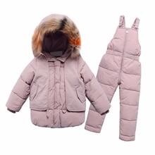 2 pçs conjuntos de roupas para crianças 2019 novas meninas e meninos casaco com capuz de pele de inverno + macacão terno para bebê crianças roupas quentes