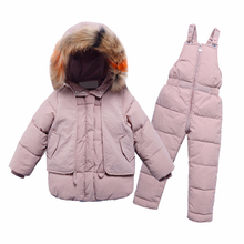 2Pcs Childrens Clothes Sets 2019 New Girls and Boys Winter Fur Hooded Jacket+Romper Overalls Suit for Baby Kids Warm Clothing