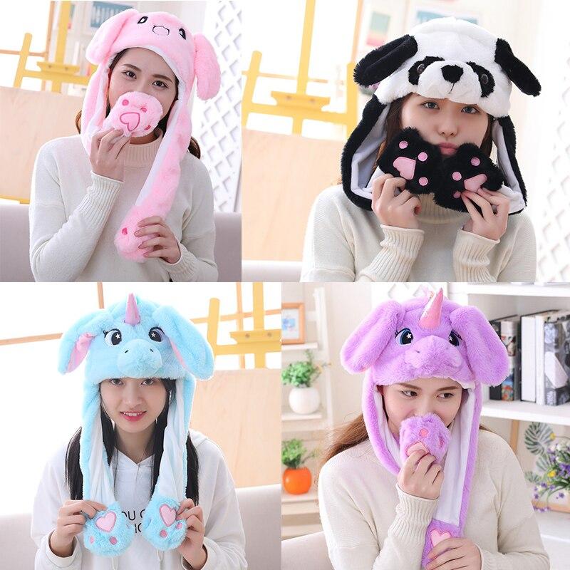 2021 для девочек плюшевая двигать с кроличьими ушами на капюшоне, мультфильм, Стич смешная шапка детский праздничный костюм единорога подушк...