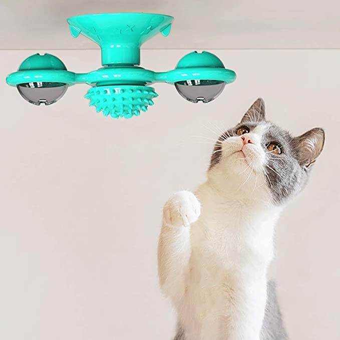 Interactive Cat Toy Windmill Portable Scratch Hair Brush Grooming Shedding Massage Suction Cup Catnip Cats Puzzle Training Toy 3