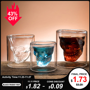 Coffee Mug Double-Layered Transparent Crystal Skull Head Glass Cup For Household Whiskey Wine Vodka Bar Club Beer Wine Glass