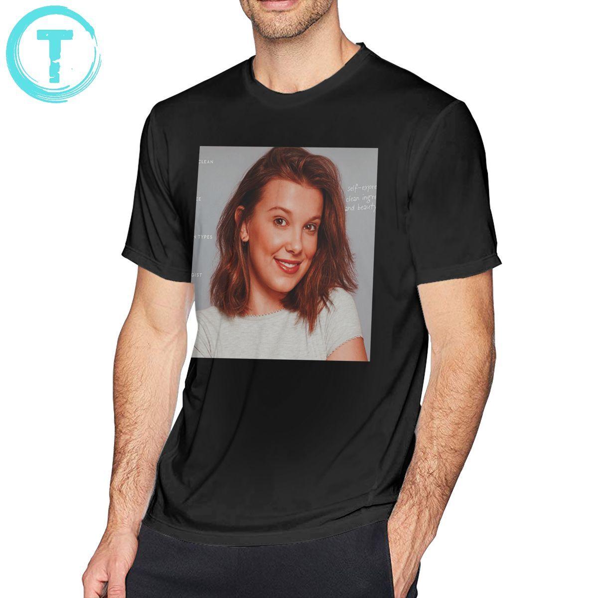Millie Bobby Brown T Shirt Millie Bobby Brown Polaroid T-Shirt Print Cotton Tee Shirt Man Fashion Tshirt