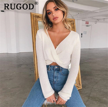 RUGOD 2019 New Crop Tops Women Knitted Sweaters Autumn Winter V neck Ladies Warm pullover sweaters Vintage sexy short style tops