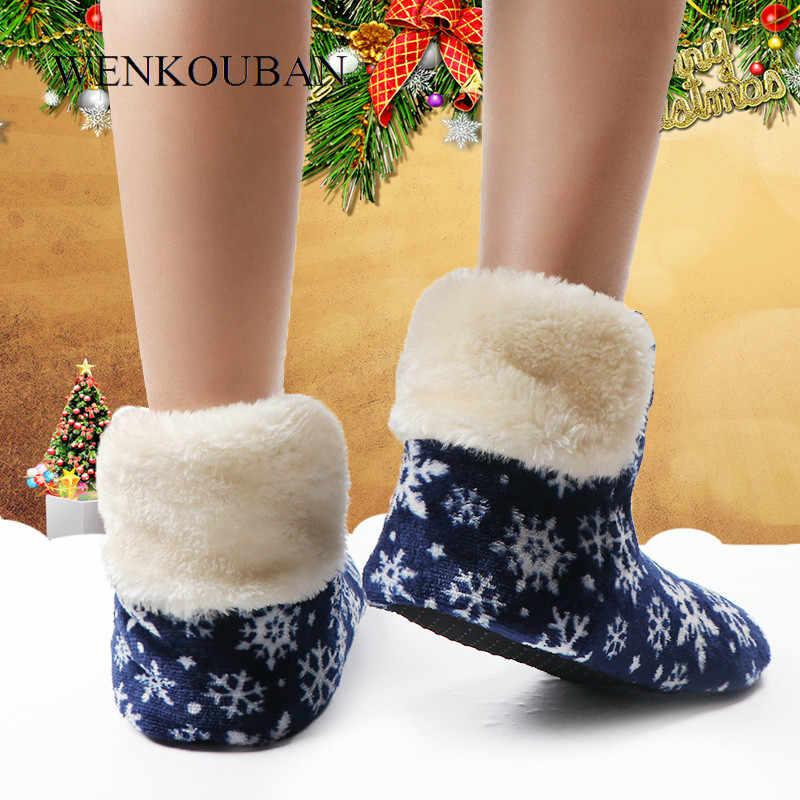 Kobiety zimowe botki ciepłe kapcie domowe damskie futro śnieżynka śnieg dom buty Contton Bootie antypoślizgowe Botas Feminina