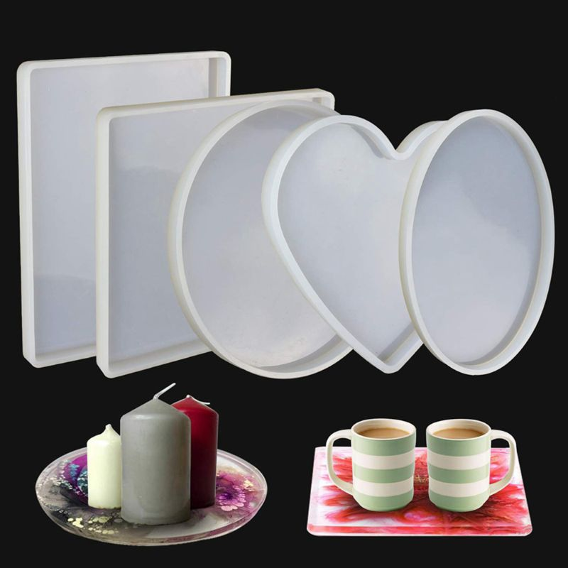 Large Coaster Silicone Resin Mold Round Square Rectangle Heart Oval Shape Molds Jewelry Making Tools Kit
