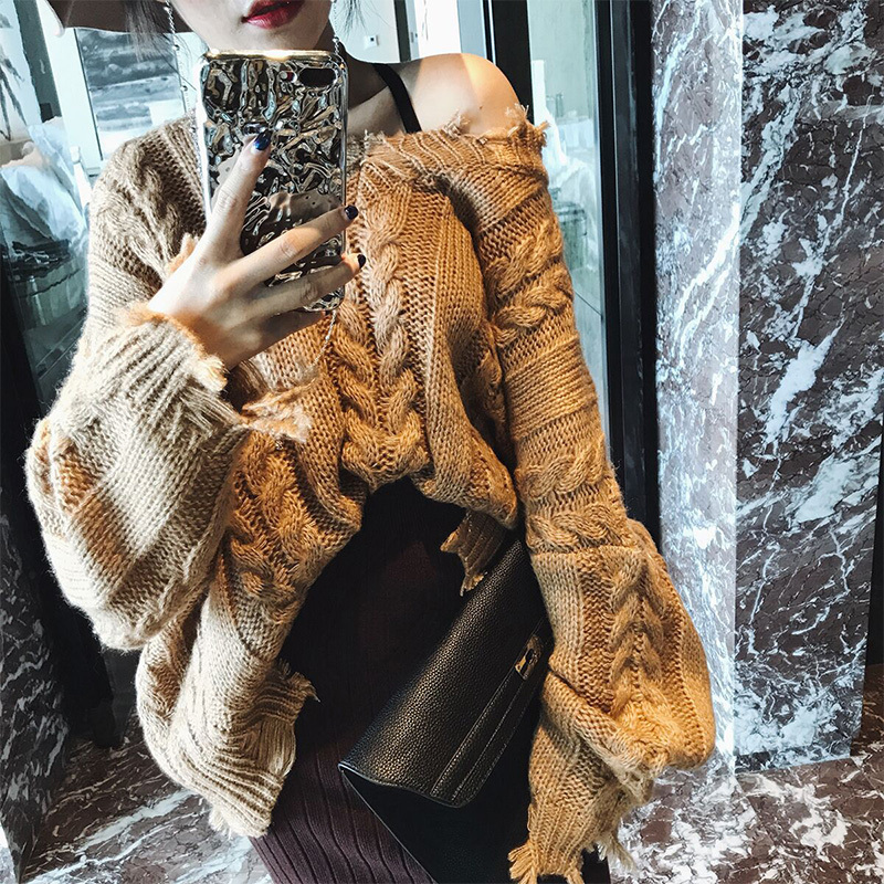 SHENGPALAE 2019 New Spring Knitting Tops Round Collar Long Sleeve Personality Tassels Vintage Fashion Women Casual Sweater FL309