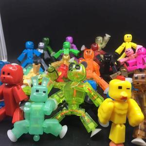 Image 5 - 10 20 sztuk/zestaw kolory losowo wysyłania śliczne karteczki zwierząt robota przyssawki Sucker śmieszne deformowalne kij Bot zabawki figurki akcji