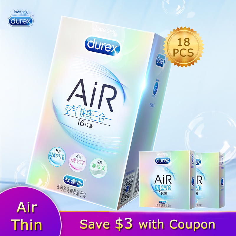 Durex AiR 3in1 Invisible Ultra-thin Condom Natural Latex Rubber Penis Sleeve Adult Products For Men Sexual Toys Intimacy Goods