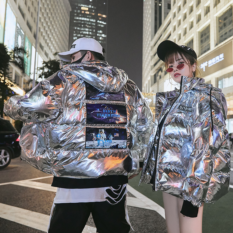 UYUK2019 Autumn/winter Thickened Loose Casual Fashion Trend Versatile Hoodie Shiny Couple Men's Cotton-padded Jacket Clothes