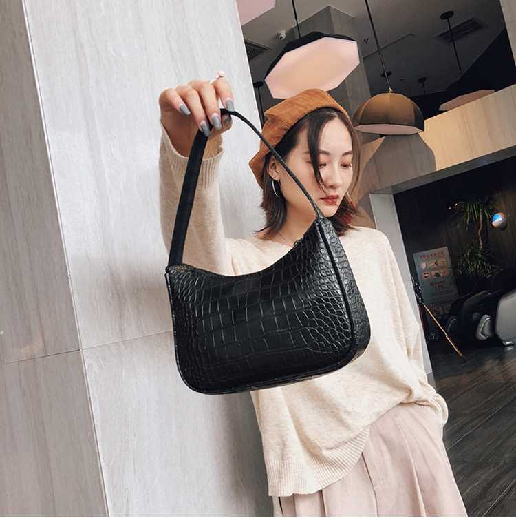 Alligator Pattern Leather Shoulder Bag Women New Fashion Brand Bags Women Small Zipper Underarm Bag