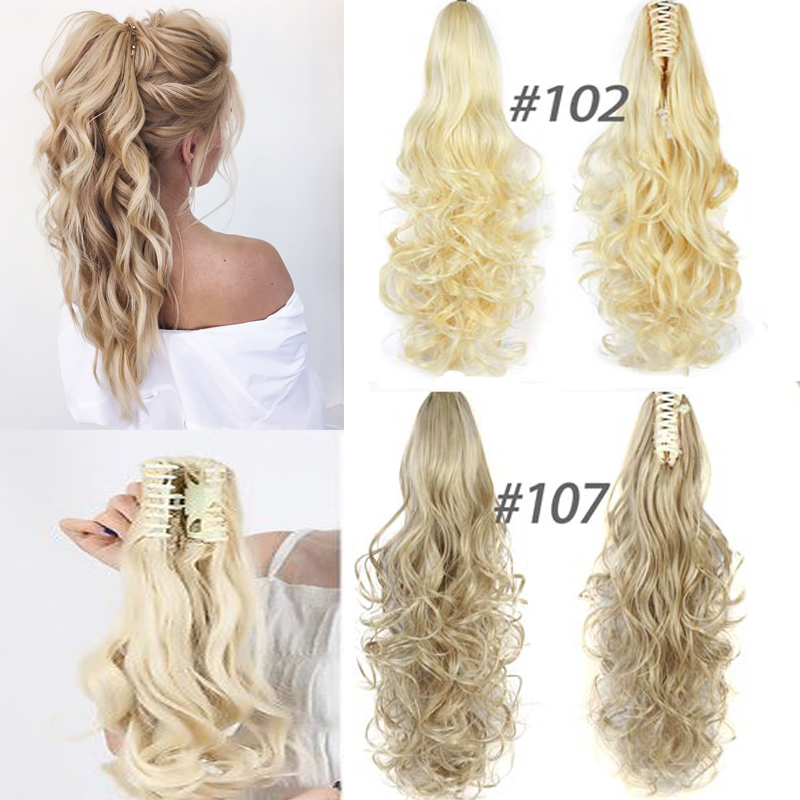 7Color  Curly High Temperature Fiber Synthetic Hair Pony Tail Hairpiece Blonde Gray Clip In Hair Extensions Claw Ponytail