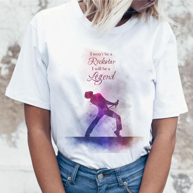Freddie Mercury Queen Band Harajuku T Shirt Women Vintage Ullzang T-shirt Fashion Rock Tshirt 90s Graphic Rock Top Tee Female