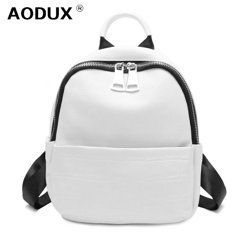 New 2019 Small Summer Soft Natural Genuine Leather First Layer Cow Leather Women Backpack Ladies Cowhide White Backpacks Bags