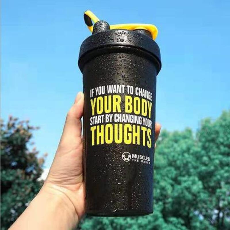 600 мл спортивный шейкер бутылка, сывороточный протеиновый порошок, портативный чайник для фитнеса в тренажерном зале с металлическим мешал...