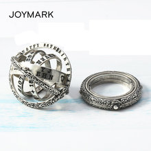 Thai Silver Astronomical Sphere Ball Finger Ring Nautical Globe Rings For Couple Dual-use 12 Constellation 8 Big Planet Pendant(China)