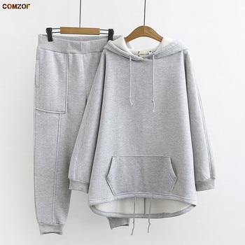 Autumn winter women korean two piece sets hoodie+pants fleece thick womens casual suit plus size clothing XL-3XL 1