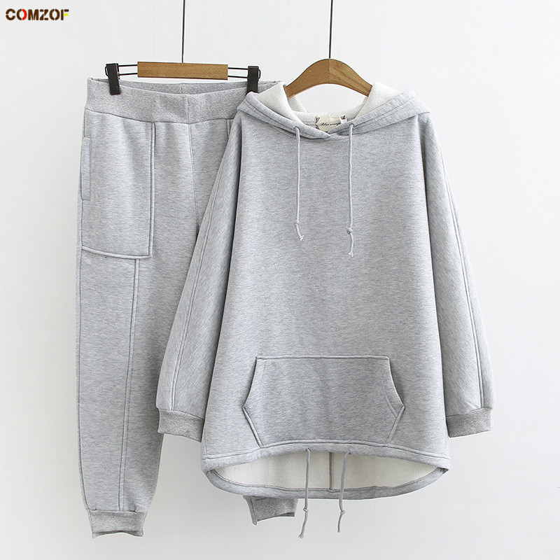 2019 Autumn Winter Women Korean Two Piece Set Hoodie+pants Fleece Thick Womens Casual Suit Plus Size Clothing XL-3XL