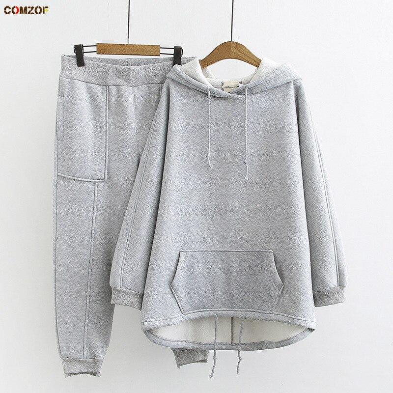 2019 Autumn Winter Women Korean Two Piece Set Hoodie+pants Fleece Thick Womens Casual Suit Plus Size Clothing XL-3XL