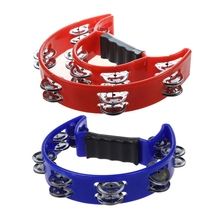 2 Pcs Tambourine Hand Held with Double Row Metal Jingles Percussion Church Band, Blue & Red