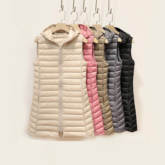 Fitaylor Winter Ultra Light White Duck Down Coat Women 4XL Plus Size Down Jacket Medium Long Vest Female Casual Zipper Outerwear 4