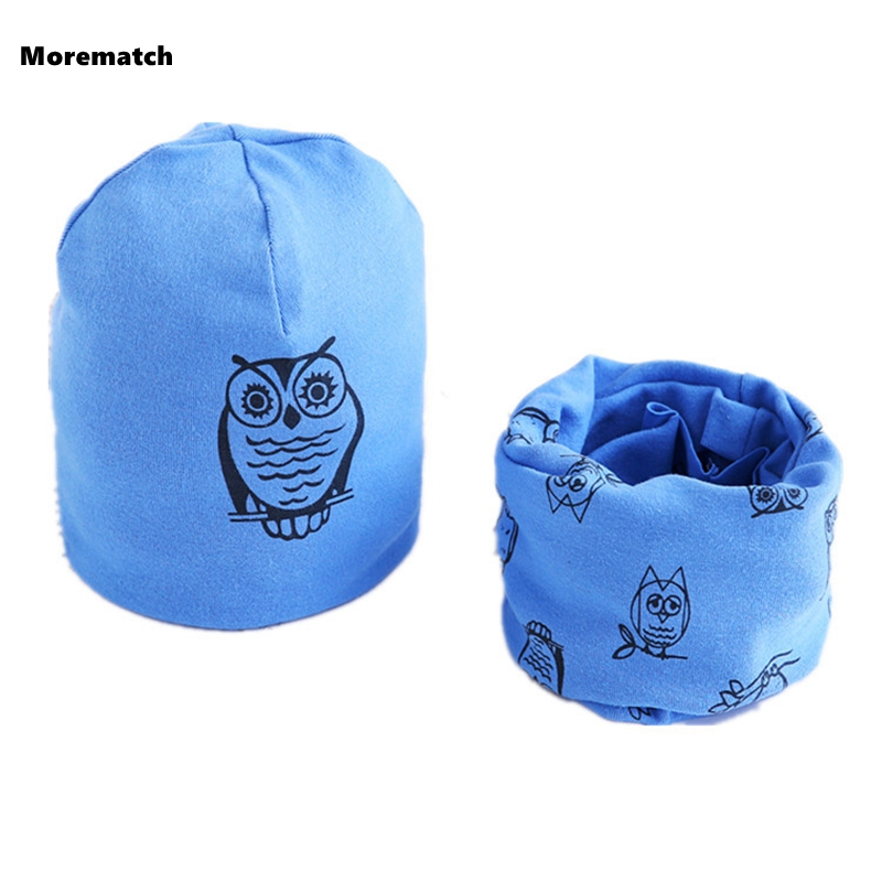 HOT Spring Autumn Girls Hat Scarf Set Cartoon Owl Star Swan Baby Boy Girls Hat Children Hat Scarf-Collar Set Cotton Kids Hat Set