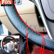 DIY PU Leather Auto Car Steering Wheel Cover Hand Sewing Hand stitched With Thread Needle 38cm Breathable Steering Wheel Covers