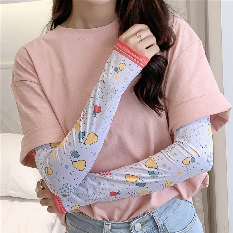2020 New Meryl Arm Sleeves Print UV Sun Protection Sleeve Slimmer Gloves Fashion Lady Arm Covers Female Accessories Summer