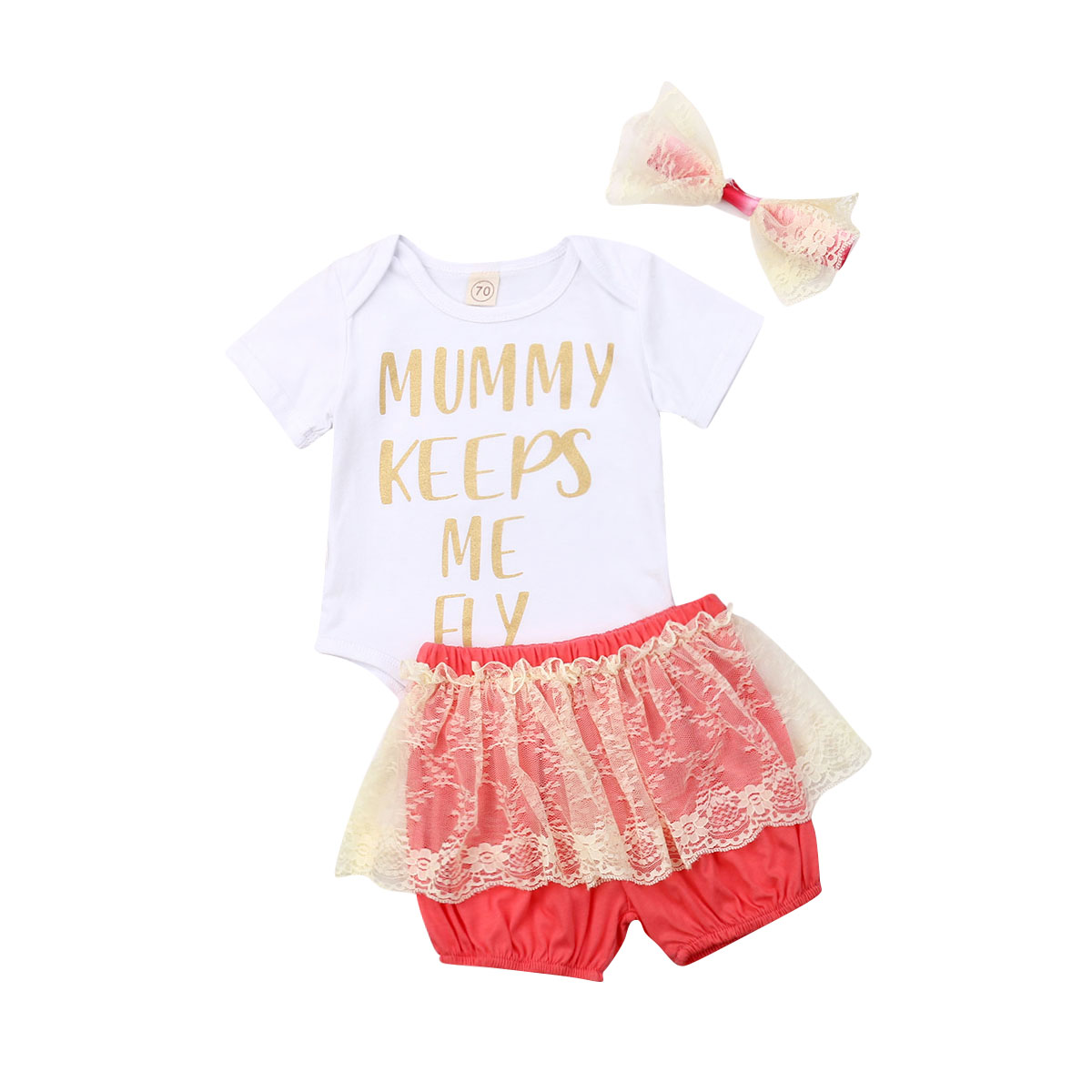 3PCS Newborn Toddler Clothes Baby Girls Dress+Pants Shorts+Headband Outfit Sets
