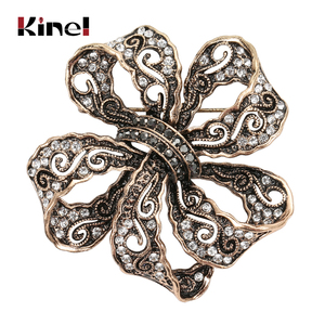 Kinel 2020 New Arrivals Women Hollow Crystal Flower Brooch Pin Vintage Brooches Arabia Paisley Pattern Lapel Corsage Jewelry