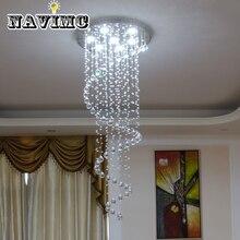 Роскошный Современный Большой D55* H220cm лестница Длинная спиральная хрустальная люстра осветительная арматура для лестницы капля дождя лампа