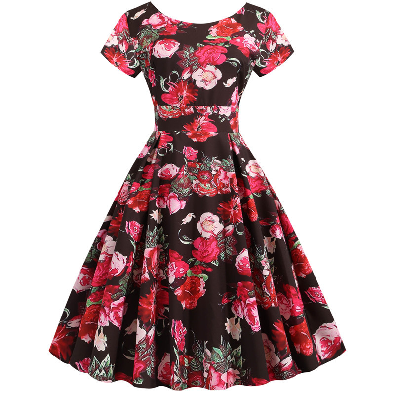 Summer Floral Print Elegant A-line Party Dress Women Slim White Short Sleeve Swing Pin up Vintage Dresses Plus Size Robe Femme 171