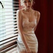 Sexy Lingerie Nightgowns Pyjamas Female Lace Silk Nighty Elastic Button Attraction Underwear Tight Sleeping Dress