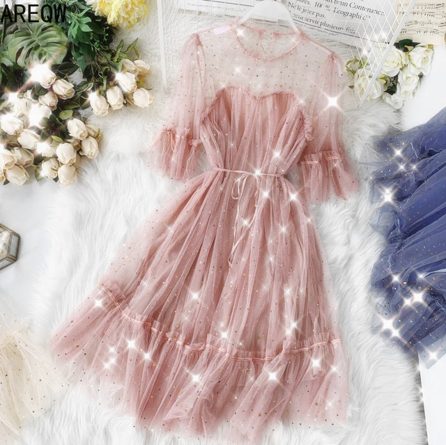 Celebrity Inspired Sequined Star Mesh Dress Round Neck Short Sleeve Waist Hugging Lace-up Dress