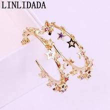 4Pair 2019 rainbow cz star Women charm dangle earring gold/silver color shiny dazzling fashion big round circle charm  jewelry