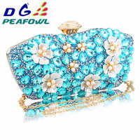GDPEAFOWL New Vintage Women blue Beaded Evening Clutch Bags Ladies Box pearl Clutches Wedding Cocktail Party Handbags Purses