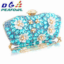 In Stock  New Vintage Women blue Beaded Evening Clutch Bags Ladies Box pearl Clutches Wedding Cocktail Party Handbags Purses