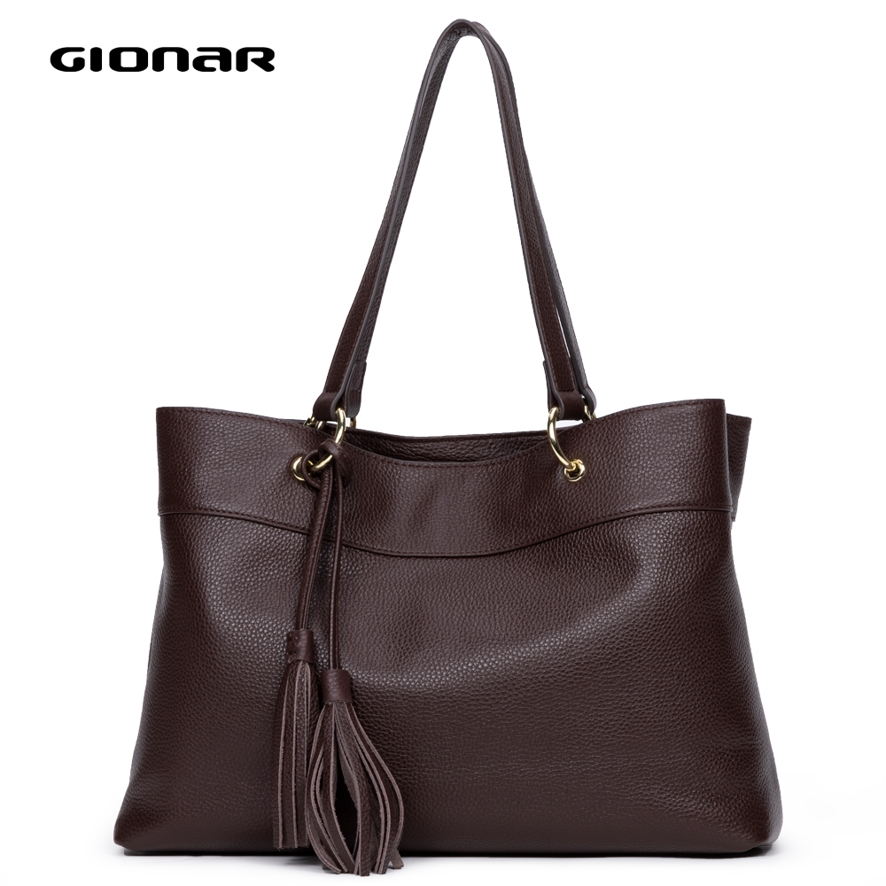 Gionar Luxury Top Brand Handbags Women Designer Shoulder Bag Genuine Real Cow Layer Leather Tote Ladies Work With Tassel