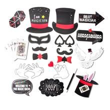 19pcs/set Magic Party Photo Booth Props Kit Magician Themed Kids Birthday Show Las Vegas Decorations  New Arrival