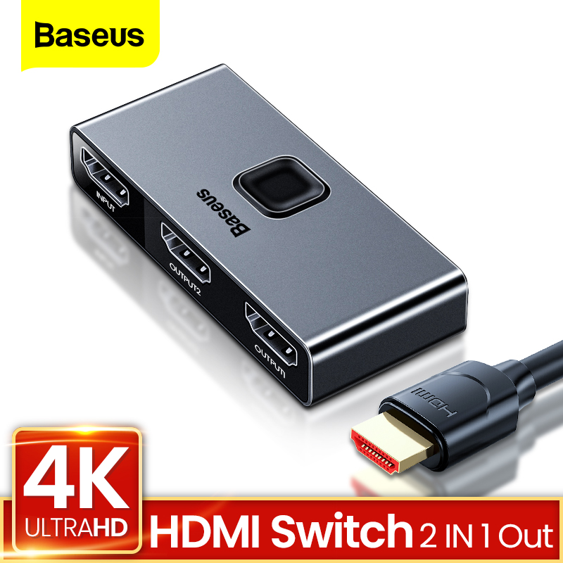 Baseus 4K HDMI Splitter Bi-Direction 2 0 HDMI Switch 1x2  amp  2x1 Adapter 2 in 1 out Converter HDMI Switcher For PS5 PS4 HD TV BOX