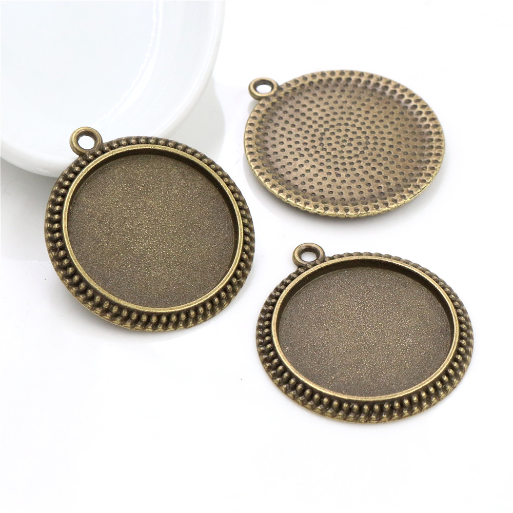 New Fashion 5pcs 25mm Inner Size Antique Bronze Vintage Cabochon Base Setting Charms Pendant (A4-11)