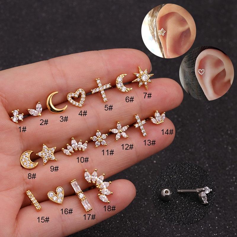 1Piece 1.2mm Diameter Piercing Safety Pin Earrings for Women 2021 Trend Jewelry Zircon Flower Heart Stainless Steel Earrings