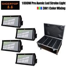 משלוח חינם 4 יחידה RGB Led 1000W Strobe בר שלב תאורת אותו לבן אור עבור חג המולד מסיבת קונצרט שלב roadcase 4in1 חבילה