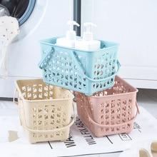 Толстая настольная корзина для хранения пластиковый бамбуковый узор корзина для хранения для ванной организации синяя ручная корзина для хранения