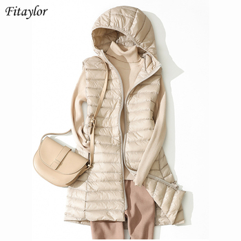 Fitaylor Winter Ultra Light White Duck Down Coat Women 4XL Plus Size Down Jacket Medium Long Vest Female Casual Zipper Outerwear 1