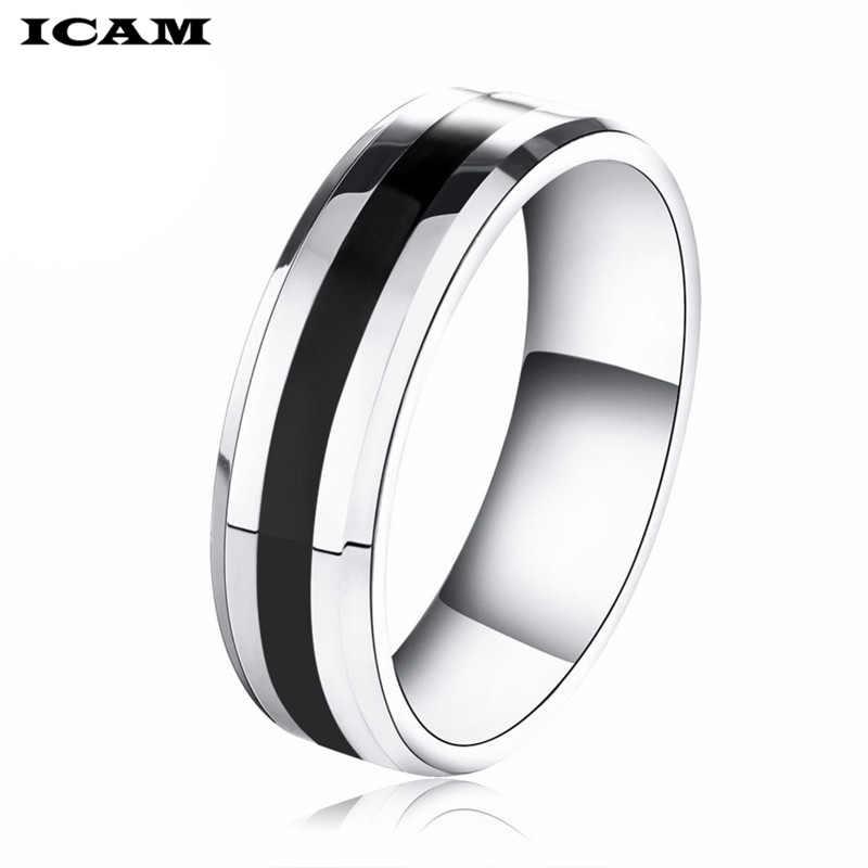 ICAM 316L נירוסטה טבעת שחור אמייל טבעת לגברים נשים אופנה סיטונאי ספק תכשיטי חג המולד מתנה