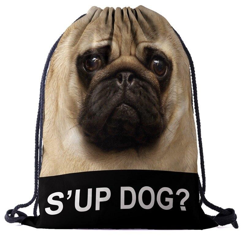 Dog Backpack Drawstring BAGS Drawstring Fashion 3D Printing  Travel Softback Men Bags Unisex Women's Shoulder Bag Knapsack Lette
